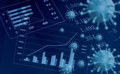 Balkendiagramme, Zahlen und Corona-Viren sind zu sehen in einer Bildkollage vor blauem Hintergrund