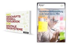 """Dieses Bild zeigt die Cover des """"Geschäftsmodell-Toolbooks für digitale Ökosysteme"""" und des Leitfadens """"Geschäftsmodellentwicklung in der Smart Service Welt"""""""