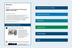 """Dieses Bild zeigt einen Überblick des Newsletters """"Neues aus dem Förderbereich Entwicklung digitaler Technologien"""""""