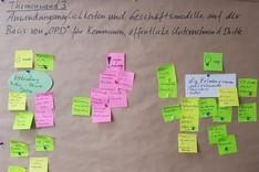 Dieses Bild zeigt eine Themenwand im Open-Public-Data-Workshop.