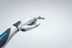 Dieses Bild zeigt eine weiß-schwarz-blaue Roboterhand.