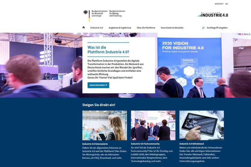 Screenshot der Website Plattform Industrie 4.0