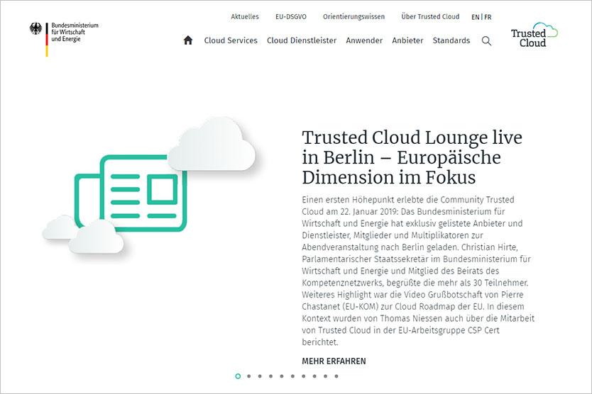 Screenshot der Website Trusted Cloud